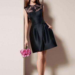 Mikado Corded Lace Illusion Neckline Black Dress